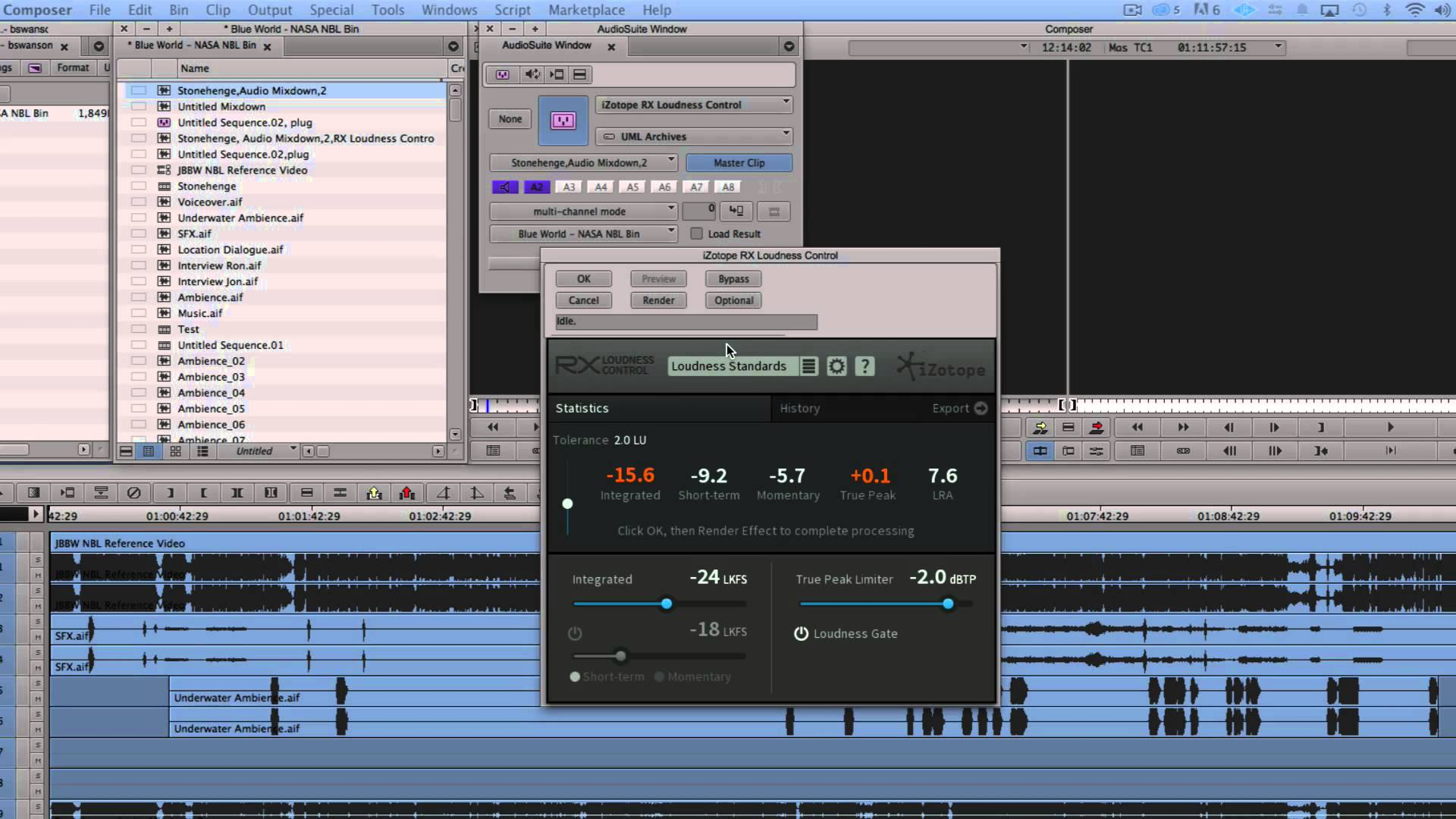Using RX Loudness Control in Avid Media Composer