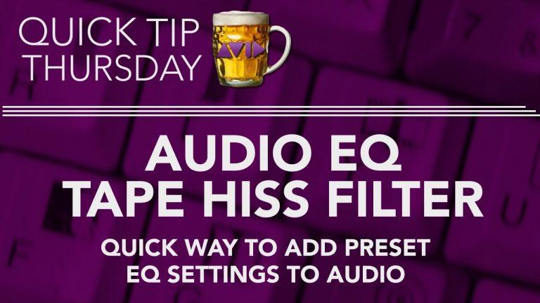 Audio EQ Tape Hiss Filter In AVID